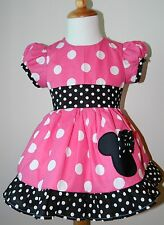 HANDMADE GIRLS MINNIE MOUSE PUFF SLEEVES DRESS 12M To 6Y