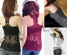 Sexy Back Crochet Eyelet Lace Party Evening Cami Vest Singlet Tank Top t014