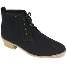NEW LADIES FABRIC BOOTS ANKLE HIGH CUT LACE UP DESIGNER WOMEN BOOTS SIZE 3-8