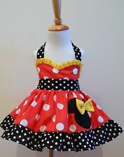 HANDMADE MINNIE MOUSE  HALTER DRESS RED, YELLOW AND WHITE POLKA 12M TO 6Y