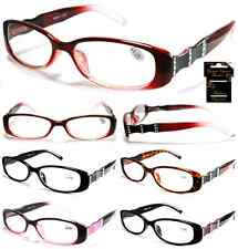 Plastic Color Reading Glasses with Wavy Rhinestone Design