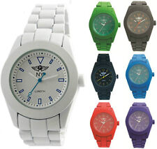 Prince London coloured rubberised metal watch patterned face
