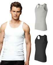 Canvas Mens NEW S M L XL 2XL 2x1 Cotton Rib Tank Top Fitted Muscle T-Shirt b3400