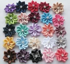 40pcs U pick satin ribbon flowers bows with Appliques Craft DIY Wedding M002