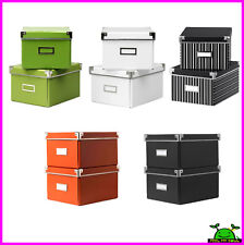 Ikea DVD Box Storage Container w/Lids & Label Holders 2PACK New