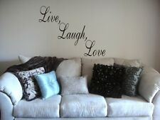 """Large Vinyl wall quote """"Live, Laugh, Love"""" 30 color choices graphic decal 2"""
