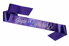PERSONALISED CADBURY PURPLE HEN PARTY SASHES NIGHT DO CHEAP BRIDE TO BE  OUTFIT