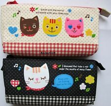 Lovely Cats with Melody Flowers Hearts Beauty Cosmetic MakeUp Bag Pen Case Pouch