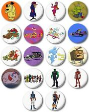"Kids Retro TV Various 25mm, 1"" Button Badge, Wacky Races, Willo Wisp, Avengers"