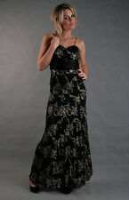 Long Elegant Cocktail Party Evening Floral Maxi Dress Size 8 10 12 14 16 18