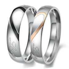 Custom Engraved Titanium Steel Wedding Ring Set Engagement Band