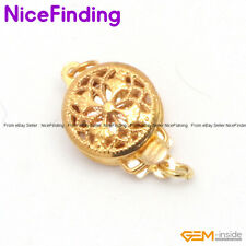 1 Strand Round Filigree Yellow Gold Plated Clasps Jewelry Making Findings 9mm