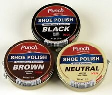 PUNCH BLACK/BROWN/NEUTRAL SHOE POLISH BOOT LEATHER SHINE RENOVATE CLEANER 40ML