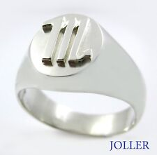 Custom Made 3D Zodiac Signet Silver Ring Polished or Mat by Joallier Jewelry