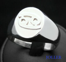 Personalized 3D Zodiac Signet Silver Ring Mat or Polished by Joallier Jewelry