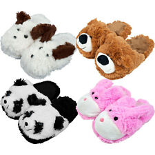~~ONE (1) PAIR ADORABLE CHILDS SZ BUNNY BEAR DOG OR PANDA PLUSH CUDDLEE SLIPPERS
