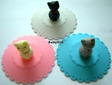 Lovely Silicone Watertight Cup Mug Lid Cover Cap with Cat Three Colors Choosing