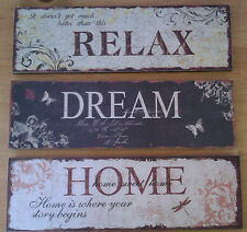 Lovely Large Shabby Chic Home Dream Relax Vintage Style Wood Wall Hanging Signs