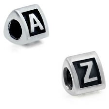 925 Sterling Silver Alphabet Letter A - Z European Charm Bead