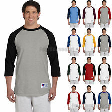 New Champion Mens 3/4 Sleeve Raglan Baseball T-Shirt S M L XL 2XL 3XL T137-T1397
