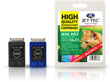 2 Remanufactured Jettec HP56/HP57 Printer Ink Cartridges for Copier 410 & more