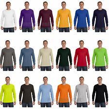 Hanes 100% Cotton Long Sleeve T-Shirt Tagless Mens Tee S M L XL 2XL 3XL 5586