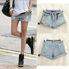 Women Girls Light Blue High Waist Flange Hole Wash White Jean Denim Shorts Short