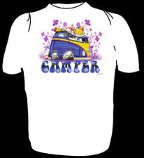 KOOLART TSHIRT - VW CAMPER  & FLOWERS - PURPLE - KIDS TO XXXL