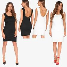 Womens Panelled Square Neck Top Bodycon Dress Shift Pencil Work Office Party