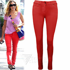 Ladies Womens Red Sexy Leggings Jeggings Jeans Skinny Fit Stretch Hot 8-14