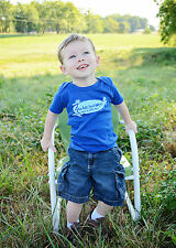 "His Child ""Awesome"" (Made in God's Image) Boys Blue Short Sleeve Shirt, 2T-5T"