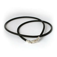 Solid 925 Sterling Silver & 2mm Black Rubber Cord Necklace