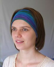 Ocean Blues Hand Dyed Cotton Headbands  Neck Scarf Hairband  Soft wearable art