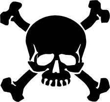 "Skull and Crossbones Decal 3.75""x4"" choose color!  vinyl sticker SC10"