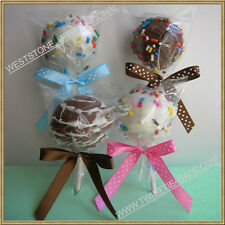 """50 (8"""" Lollipop Stick + Bag + PreTied Ribbon Bow) for cake pop in birthday party"""
