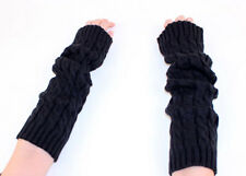 Winter Braided Knit Arm Warmer Fingerless Gloves Black A1002