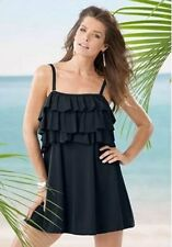 7089   PLUS SIZE 1 Pc Black Ruffled Swimsuit Assorted Sizes Available