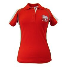 WOMENS WELSH SKINNY FIT FASHION CONTRAST PIPING RUGBY T-SHIRT TOP RRP £19.99