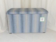 OTTOMAN/BEDDING BOX - POWDER BLUE VISTA STRIPE