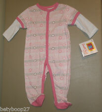 Small Paul Frank Baby Girls PINK Footed One Piece Sleeper Pajama Romper 0-3M NWT