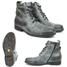 Mens Leather Military Style Boots Ankle Shoes Zip Up with Lace UK 6 7 8 11 New