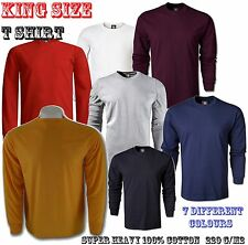 Mens  King Size Long Sleeve T shirt Sizes 2XL-5XL 100% Cotton 220g.