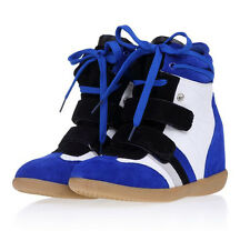 Hot Woman Velcro Strap lacing High-TOP Sneakers Shoes / Ladys Ankle Wedge Boot #
