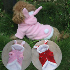 Pink/ Red Fleece BUNNY Rabbit Dog Costumes Hoodie Coats Dog Clothes Pet Supplies