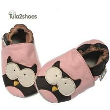 Tula2shoes LEATHER BABY GIRLS SOFT PINK OWL FIRST/PRAM SHOES  0- 6-12-18-24 M