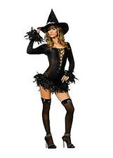 Broomstick Babe Sexy Witch Fancy Dress Costume S, M, L