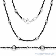 925 Italy Sterling Silver & Black Rhodium 4mm Bead 1.5mm Roc Link Chain Necklace