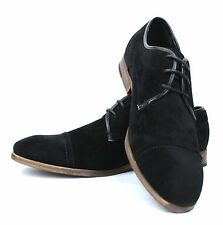 Men's Office Casual Formal Shoes Black Suede Lace Up UK 6 - 11 EURO 40 - 45 New
