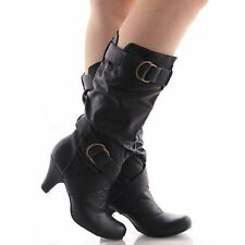 Women's Mid  Knee Calf Boots Low Heels w/ Buckles and Straps Black and Gray