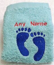 Personalised Baby Feet Towel Sets Name 100% Cotton Embroidered Christening